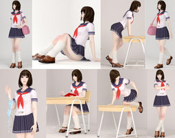 3D 8 poses of schoolgirl Mariko