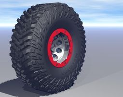 low-poly micky thompson baja claw ttc tire and bead lock wheel  3d asset animated