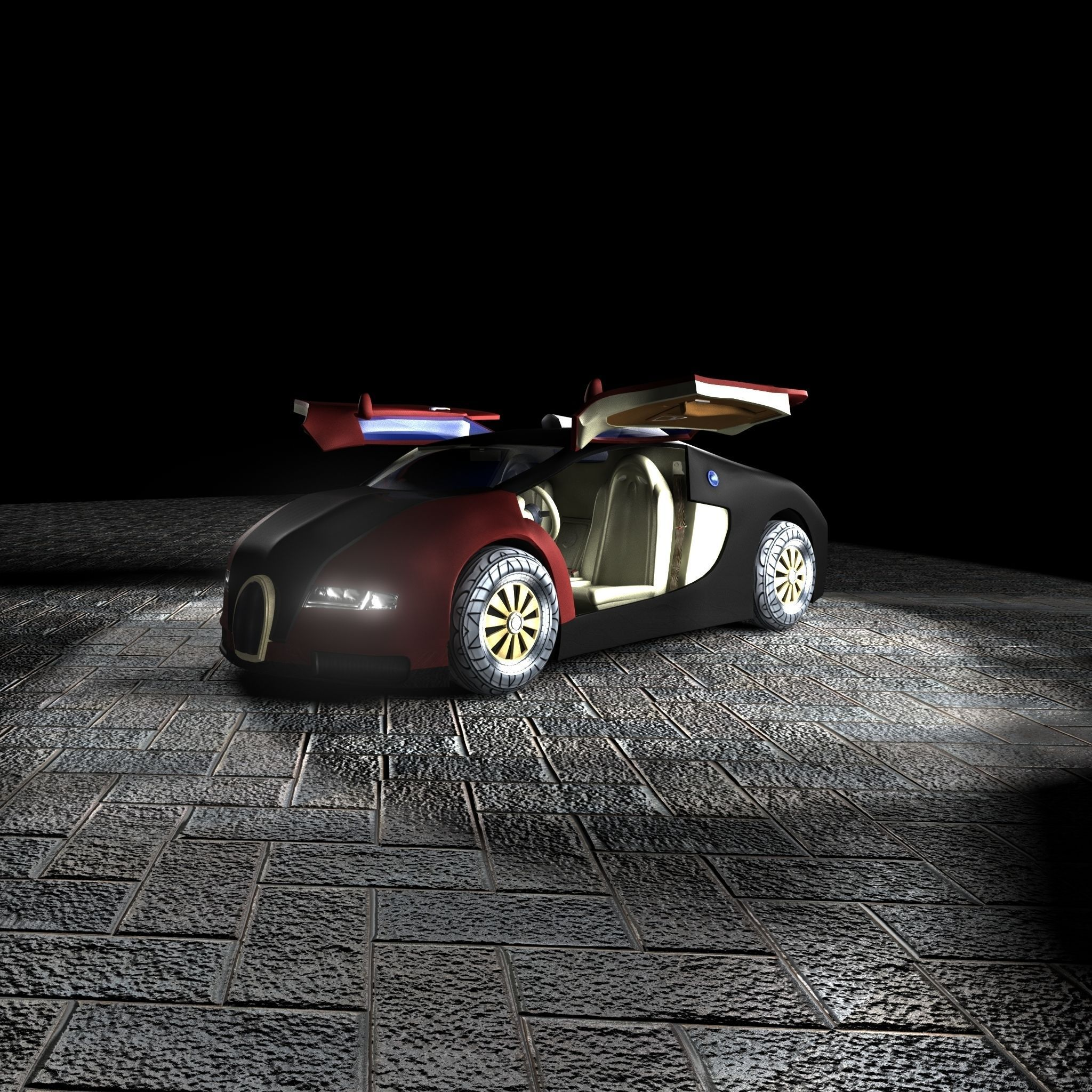 bugatti veyron 3d model with interior free vr ar low poly 3d model ma mb tga. Black Bedroom Furniture Sets. Home Design Ideas