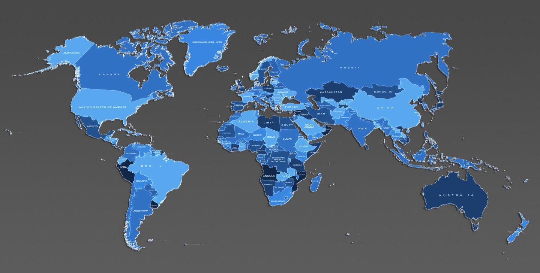 3d world map and usa map 3d model max obj fbx mtl 5
