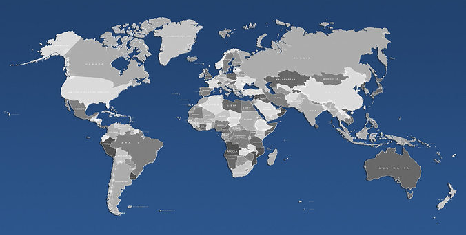 3d world map and usa map 3d model max obj fbx mtl 6