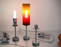 a tablelamp with rigged cable 3d