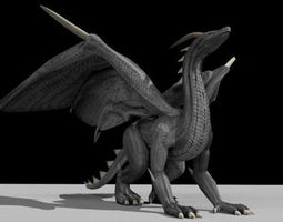 black dragon rigged and game ready 3d model low-poly rigged animated 3ds fbx dxf stl blend dae