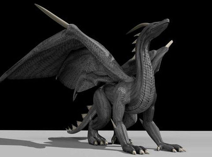 black dragon rigged and game ready 3d model low-poly rigged animated 3ds fbx dxf stl blend dae 1
