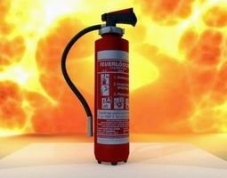 rigged VR / AR ready 3d asset red fire extinguisher