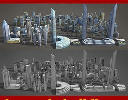 low-poly 120 lowpoly buildings 3d model