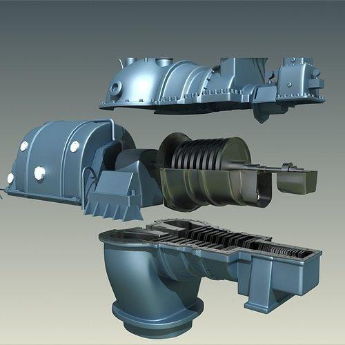 steam turbine 3d model max obj mtl fbx 1