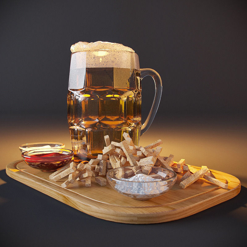 Beer with crackers and sauces