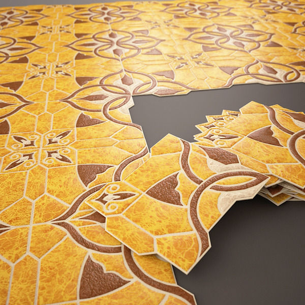 Spanish Tile Emigres Puzzlemi Huesca Marron Model Max Fbx 2