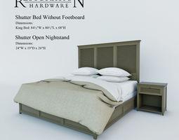 3d restoration hardware   shutter bed without footboard