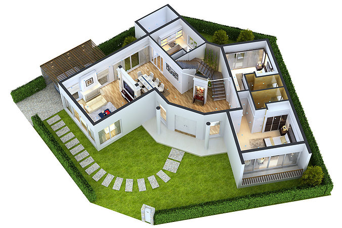 Detailed house floor 1 cutaway 3d model cgtrader for Sweet home 3d exterior design
