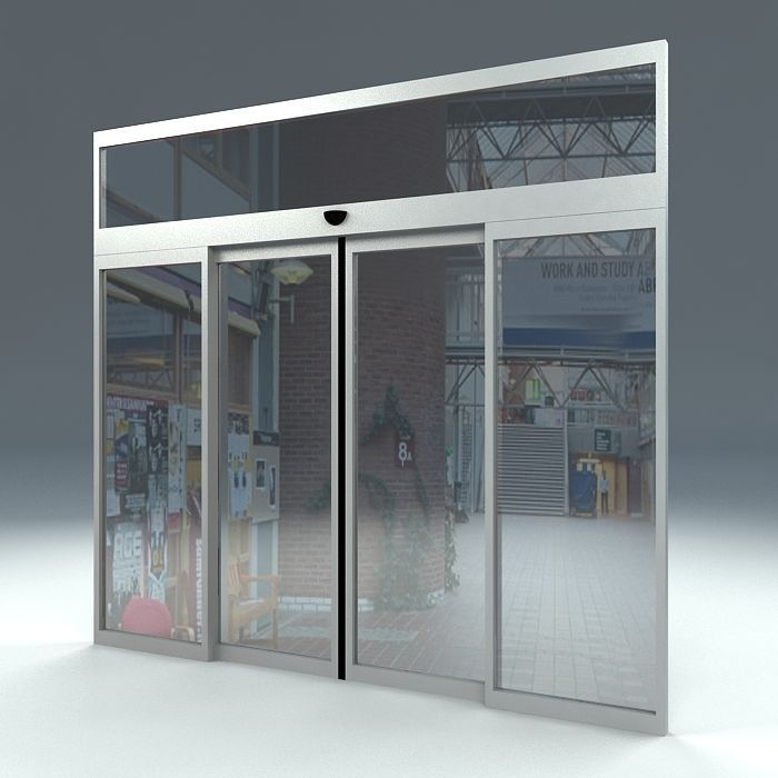 Automatic sliding door free 3d model max obj 3ds fbx ma mb for Motorized sliding glass door