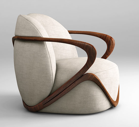 giorgetti hug armchair 3d model max obj mtl 1