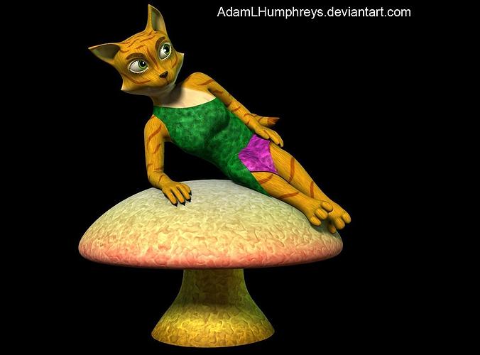 Anthro Female Cat Feline Rigged Cartoon T-pose Model