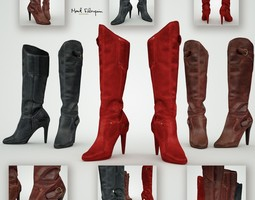 3d model leather boots game-ready