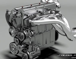 3d model engine inline 4 dohc