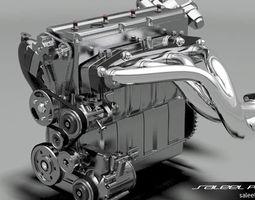 engine inline 4 dohc 3d model max obj