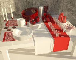 3D Set of Christmas tableware