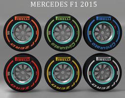 3D asset W06 Rear tyre set