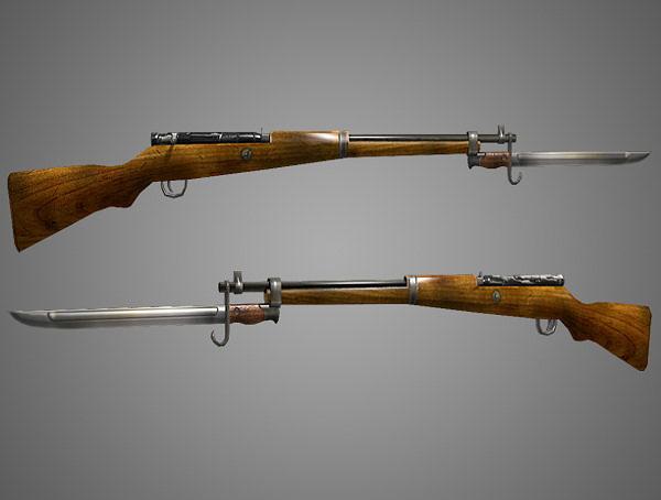 arisaka type 99 rifle low poly 3d model obj fbx lwo lw lws ma mb blend dae 1