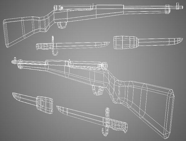 arisaka type 99 rifle low poly 3d model obj fbx lwo lw lws ma mb blend dae 4