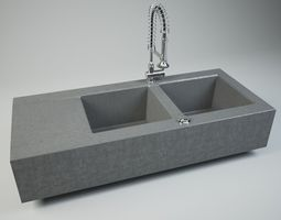 3D model Stone Sink with Spray Faucet