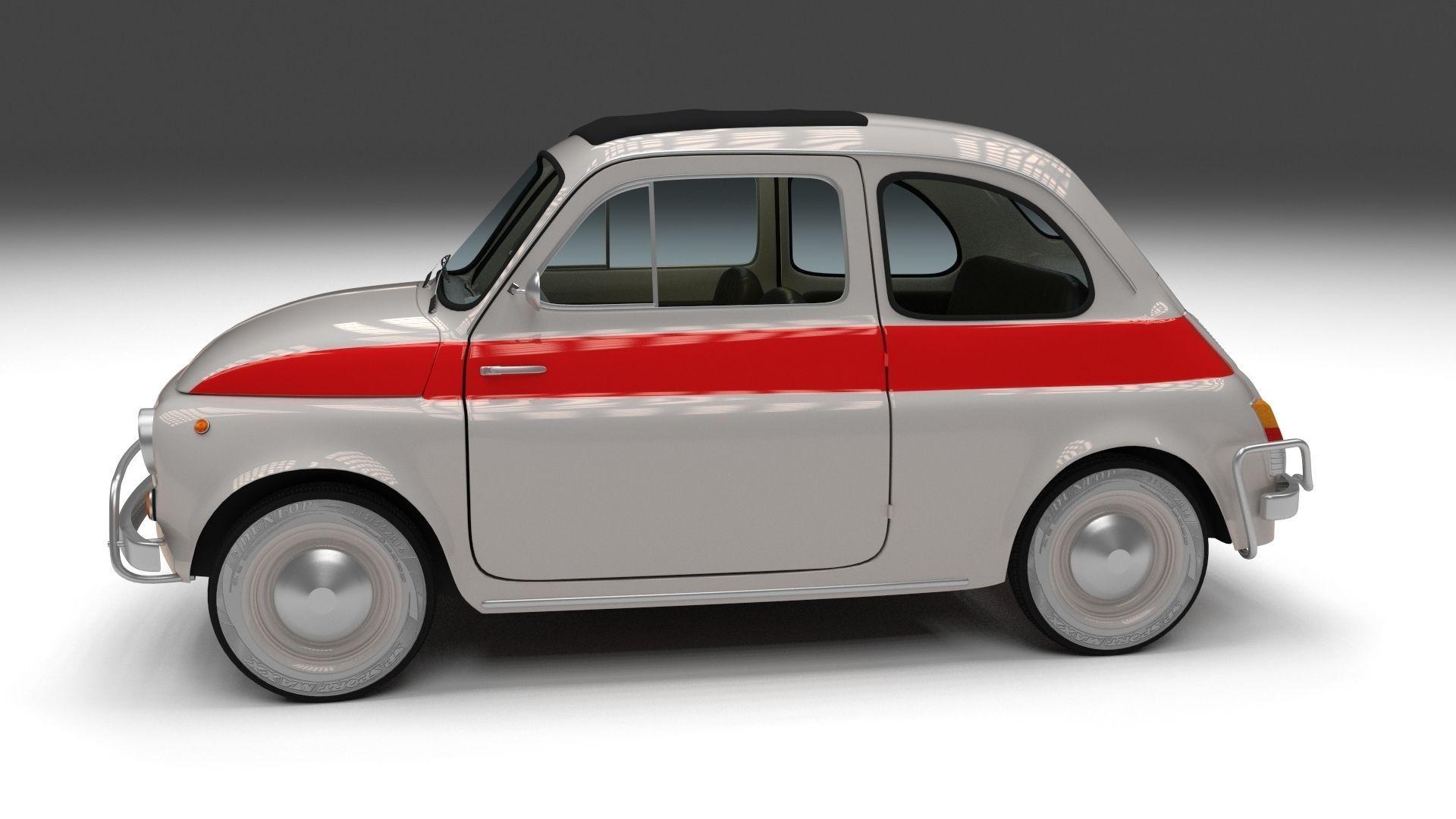 3d model fiat 500 nuova sport 1958 vr ar low poly obj. Black Bedroom Furniture Sets. Home Design Ideas