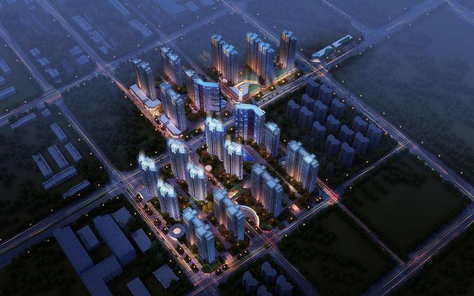 city commercial and residential building design 3d model max obj mtl tga 1