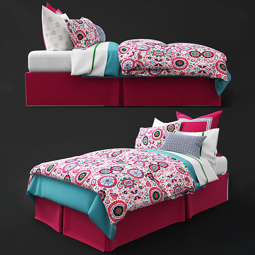 Kids Bedroom 3d Model 3d model bedclothes kids pink | cgtrader