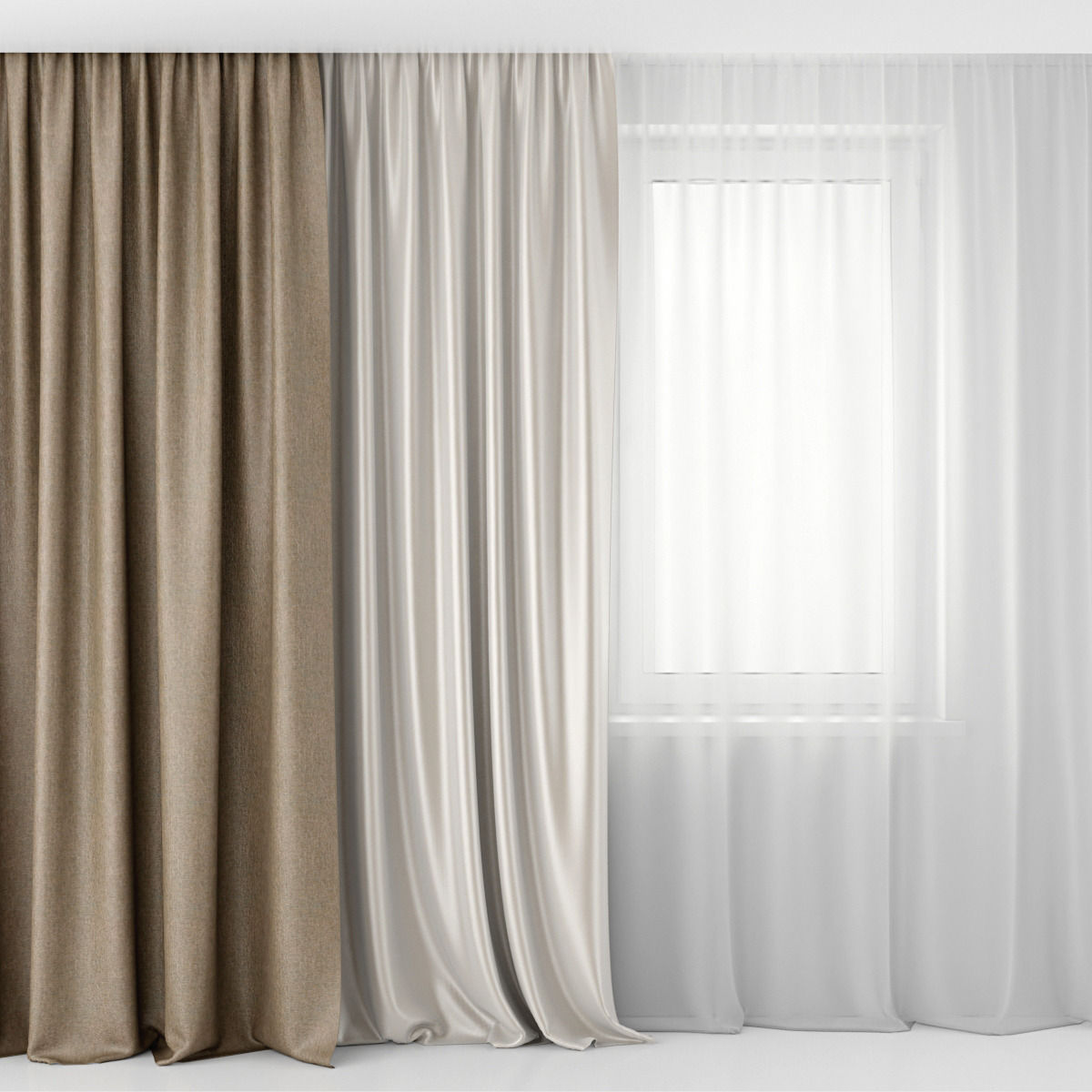 3d Model Curtains And Tulle Cgtrader