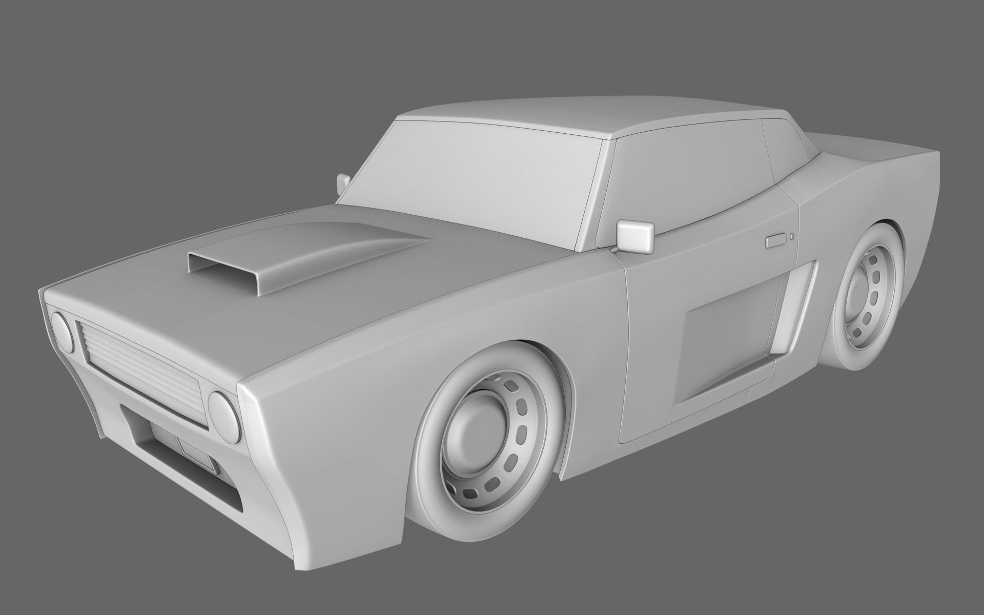 Cartoon muscle car 3d model obj for 3d drawing online free