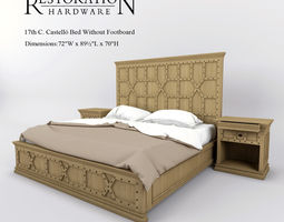 3d model restoration hardware 17th c castello bed without footboard