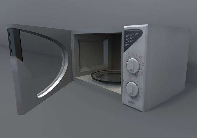 microwave low-poly 3d model low-poly rigged animated obj mtl 3ds fbx stl blend dae 1