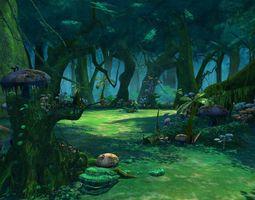 Cartoon Forest Scene 3D model