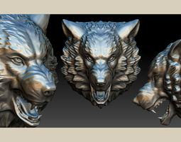 3D print model stylized wolf head 0190