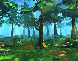 Cartoon Forest Scene 02 3D model