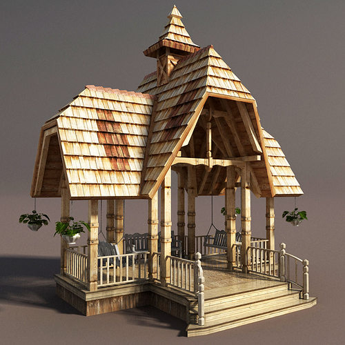 wooden french gazebo low poly 3d model low-poly max obj 3ds fbx mtl tga 1