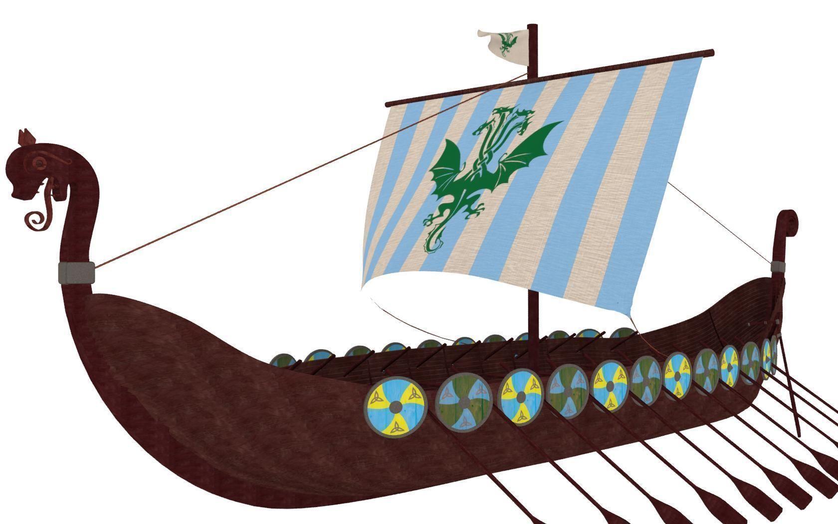 viking ship 3d cgtrader