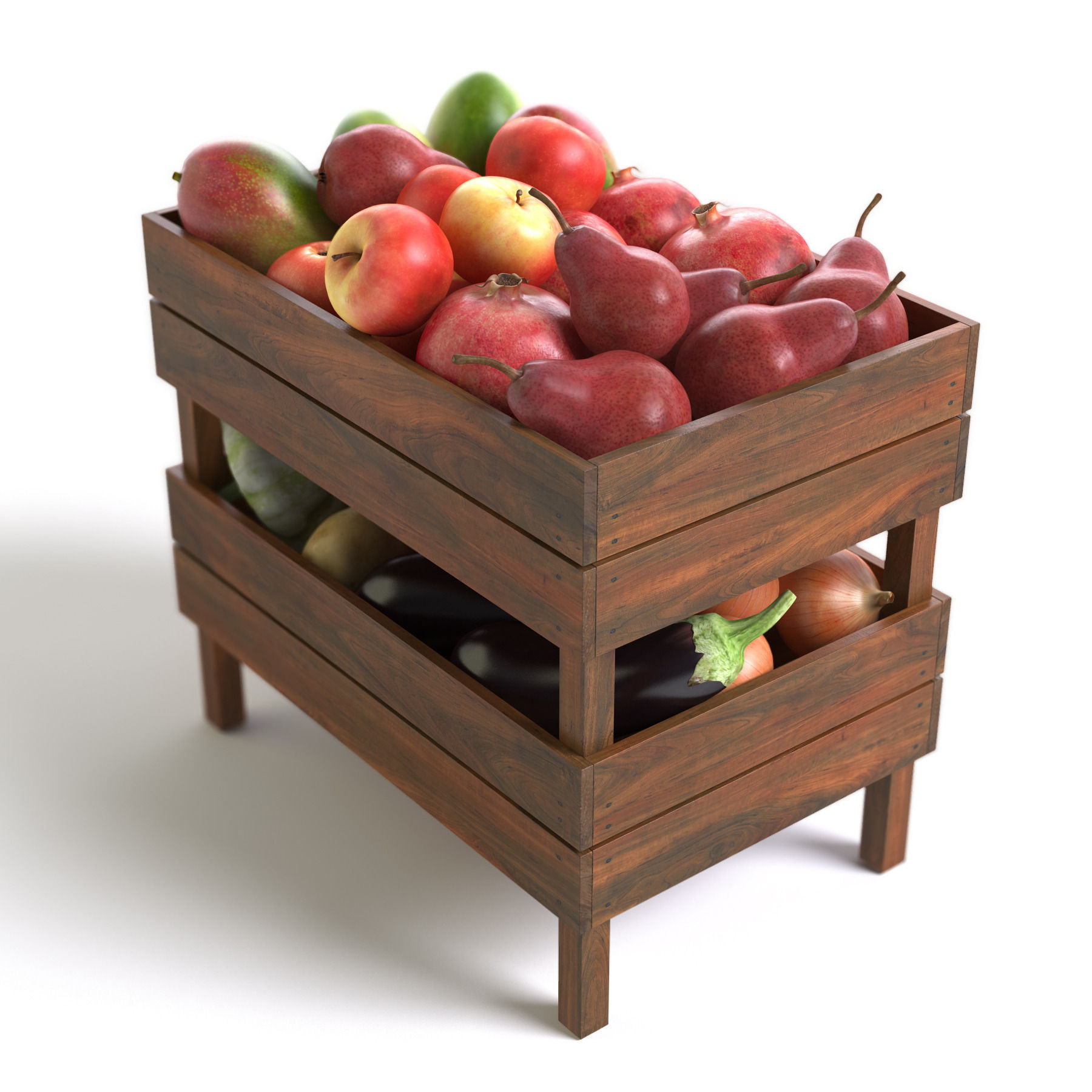 Crates with fruit and vegetables 3d model max obj 3ds fbx for Wooden fruit crates