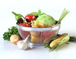 3d model vegetables in the basket