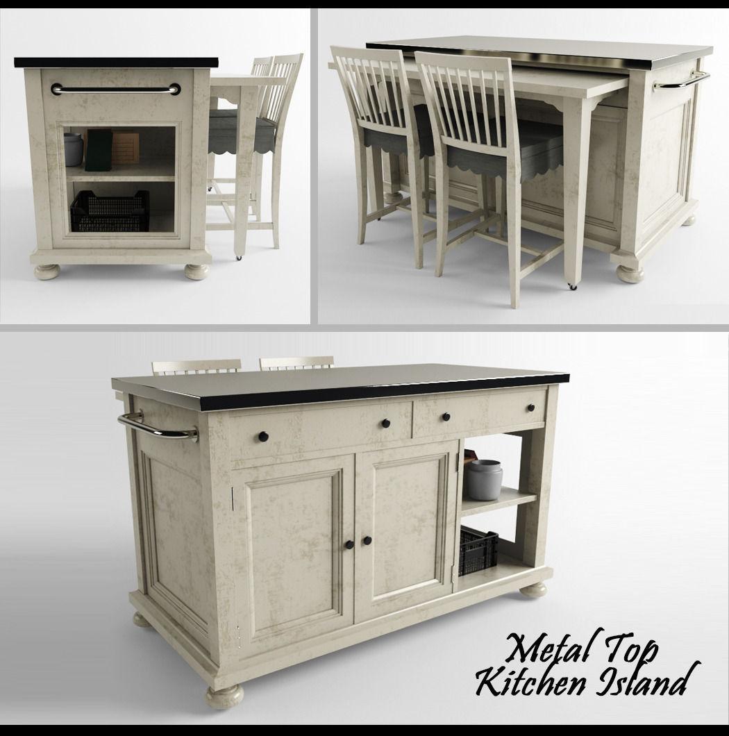Metal Top Kitchen Island 3D Model 3D Printable MAX FBX STL