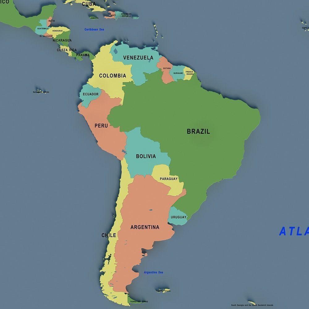 World Map D Model CGTrader - Argentina 3d map