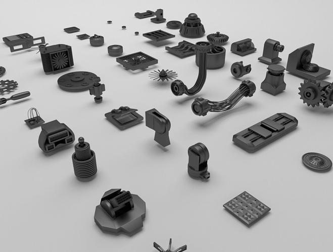 technical parts collection 3d model obj mtl 3ds fbx blend 1