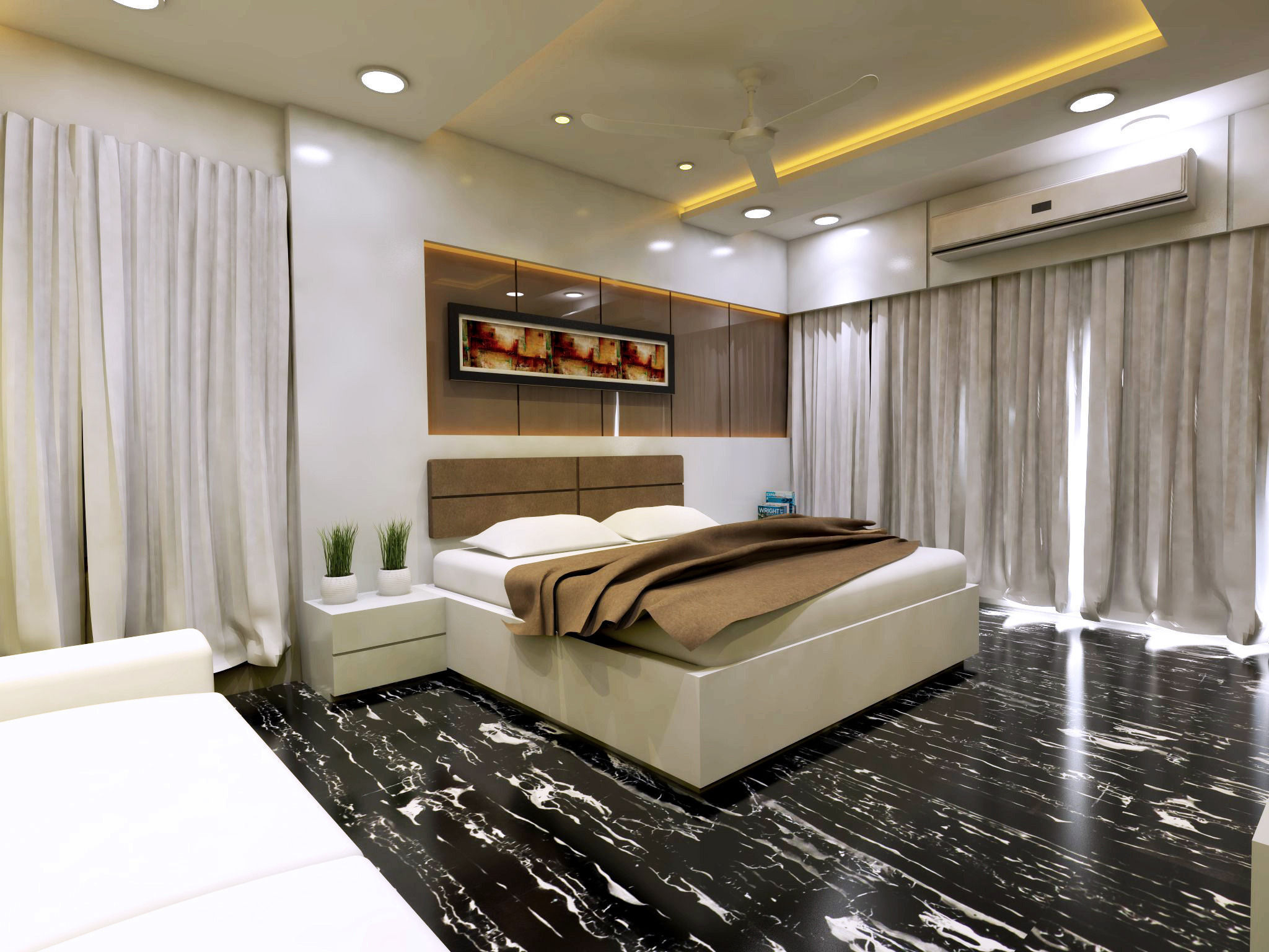 Modern bedroom interior vray rendered 3d model skp for Modern bedroom interior