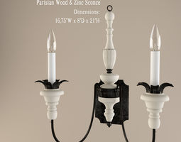 3d restoration hardware  parisian wood and zinc sconce
