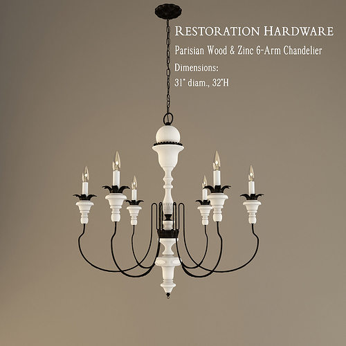 restoration hardware chandelier. Restoration Hardware Parisian Wood And Zinc 6 Arm Chandelier 3D Model A