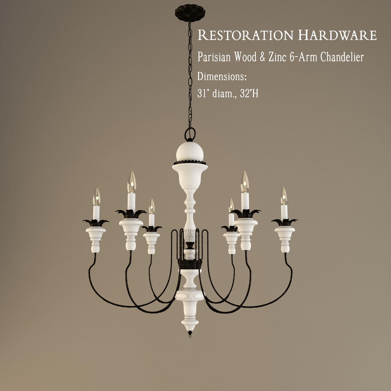 restoration hardware parisian wood and zinc 6 arm chandelier 3d