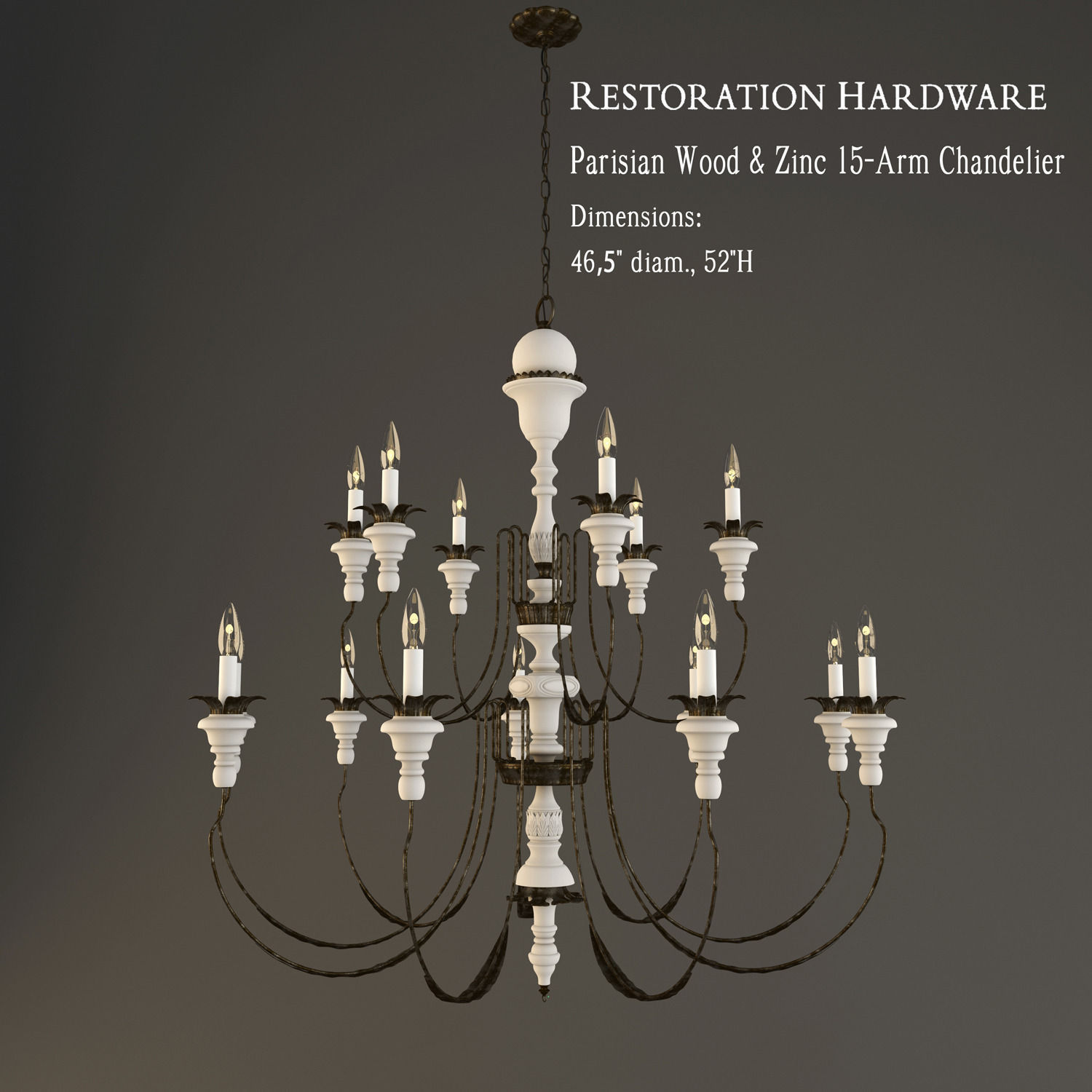 Restoration Hardware Parisian Wood and Zinc 15 Arm Chandelier 3D