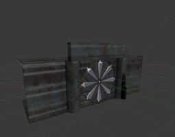 3D model Door component 4 rigged and animated