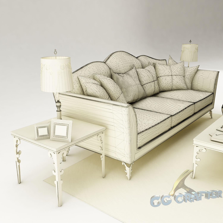 Sofa set 120 3d model max obj 3ds fbx tga cgtradercom for Sectional sofas 120